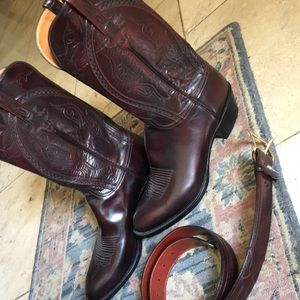 Mens Lucchese Leather Cowboy Boots & Belt -size 38